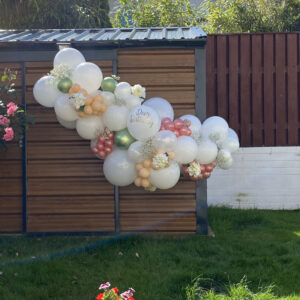 Large Glamorous Garland with white florals and personalised name Balloons Red Balloon Cork