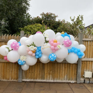 Large Glamourous Garland 7ft approx Baby Shower Pink and Blue - Pink - Blue - Balloons Red Balloon Cork
