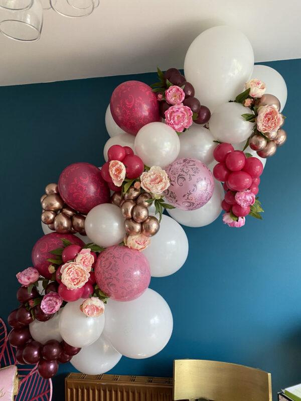Medium 5ft approx Pink Rose Gold and Burgandy Glamorous Garland Balloons Red Balloon Cork