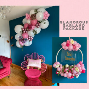 Medium Glamorous Garland package with white and pink and florals Balloons Red Balloon Cork