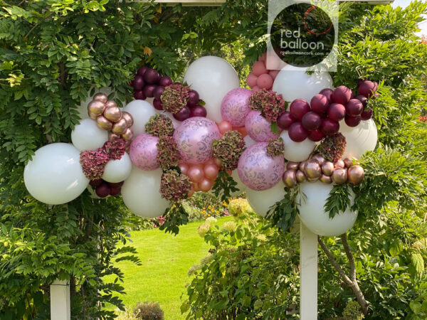 Pinks Burgandy Gold Large 7ft approx Glamorous Garland Balloons Red Balloon Cork