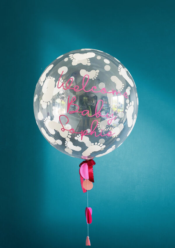 Welcome Baby Girl Balloon Delivered White Feet
