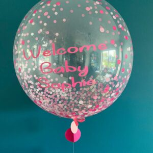 Welcome Baby Pink Dots Balloon Delivered Ireland