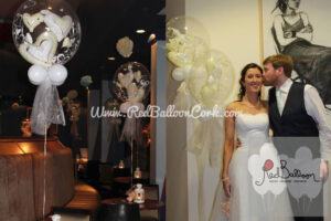 Floating White Hearts Wedding Balloons W104