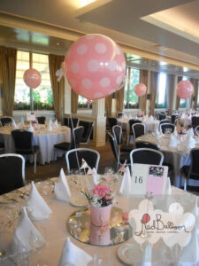 Pink Spotted Wedding Table Centrepieces W113