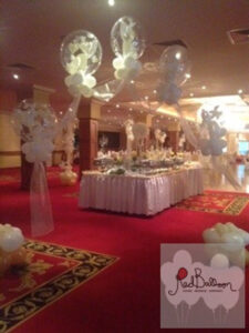 White Fabric Balloon Wedding Arch W121